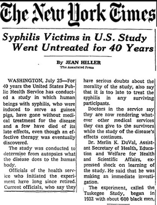 tuskegee syphilis study • 1996 report by the tuskegee syphilis study legacy committee on how the public could address the tuskegee study and its impact • background on the tuskegee study, from the tuskegee university national center for bioethics • tributes to herman shaw, who died dec 3, 1999, and fred simmons, who died feb 5, 2000.